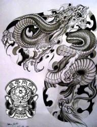 纹身手稿半甲图案