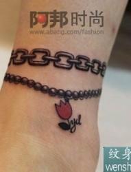 情侣脚链刺青代表着美好的爱情