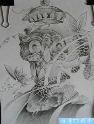 嘎巴拉鲤鱼纹身图案