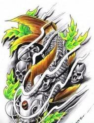 经典流行超帅的鲤鱼锦鲤叶子骷髅纹身图片(精品)