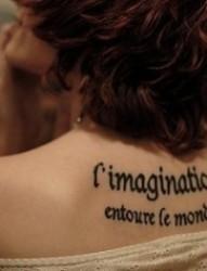 时尚女性各种英文字符纹身