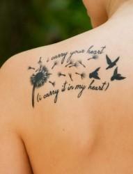 女生喜爱的浪漫植物  蒲公英纹身