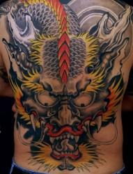 男士后背满背色彩龙头刺青图案