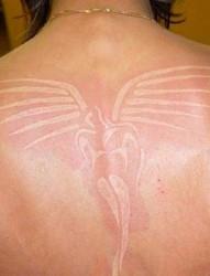 鸽子血纹身:背部和肩部漂亮的鸽子血纹身
