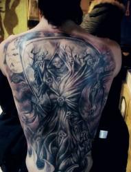 欧美风格的满背死神纹身