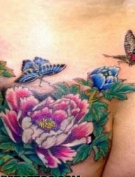 女士上身彩色牡丹花紋身圖案