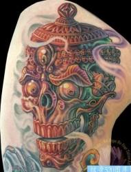 一款臀部嘎巴拉纹身图案
