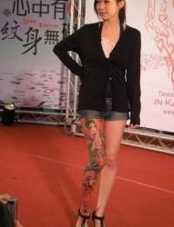美女腿部古装古典女子纹身展示