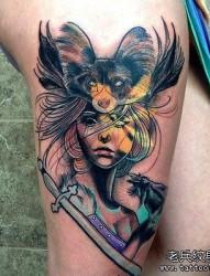 彩色传统嘎巴拉纹身图案