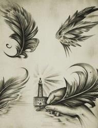 好看时尚的羽毛纹身手稿