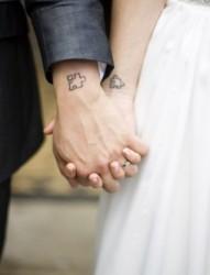 小清新情侣手臂纹身