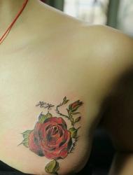 红玫瑰纹身代表着神往爱情的一种表达方法