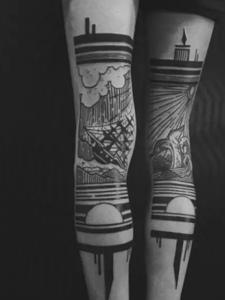 一组非常有创意的黑白拼接图腾刺青