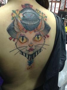 大眼萌萌的大花猫头像纹身图片