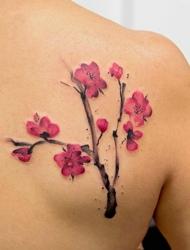 精细漂亮的时髦梅花花朵纹身