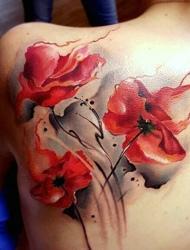 几处各色各样的艳丽花朵纹身