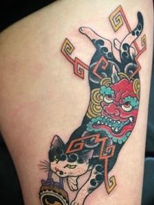一组可爱萌萌的花猫图腾纹身图案