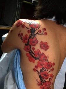 遮盖着半个背部的漂亮樱花刺青