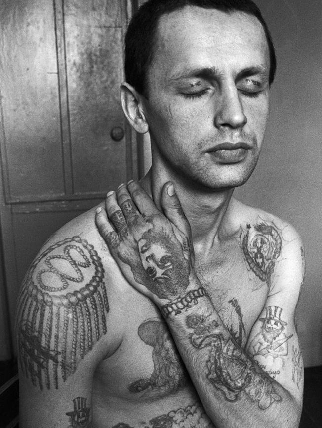 一组俄罗斯监狱男士图腾纹身