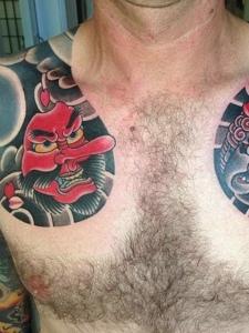 日式雙半甲紋身刺青男人味十足