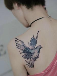 短發女生后背一只小燕子紋身刺青
