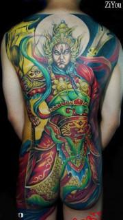 满背彩色二郎神纹身图案