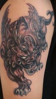 男士手臂招财神兽貔貅片纹身