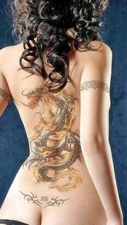 性感美女背部金龙纹身图案