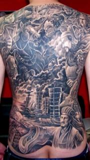 满背三国火烧赤壁纹身图案