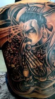 满背二郎神杨戬纹身