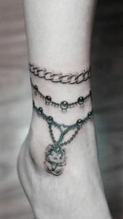 女性脚链Kitty猫纹身图案