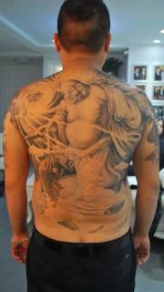 满背憨态的弥勒佛纹身