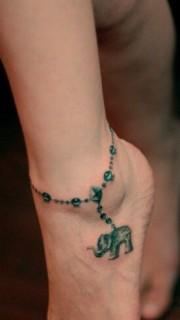 可爱小象脚链时尚刺青