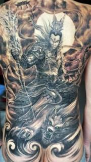 大满背二郎神和哮天犬纹身图案