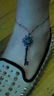 钥匙脚链脚踝纹身图片图案