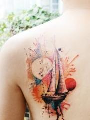 精美潮流的帆船纹身图案大全
