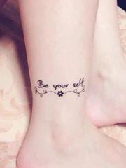 脚踝上的小清新纹身