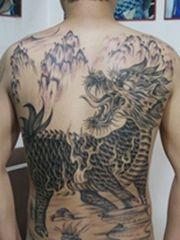 背部麒麟神兽纹身大全