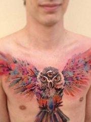 男士胸前潮流时尚的猫头鹰纹身
