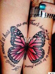与你翩翩飞舞 情侣蝴蝶纹身