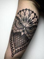 奥秘的猫头鹰手臂纹身图案大年夜全