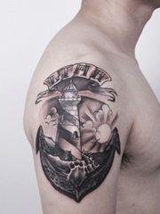 帥氣的大臂船錨紋身圖案