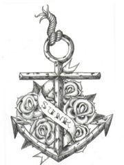 特性精细的船锚纹身手稿