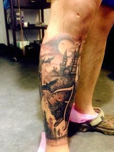 包小腿个性黑白城堡纹身图案