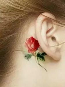 一组耳边上的小清新时尚图腾纹身刺青