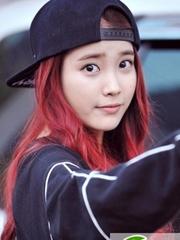 IU李智恩发型图片 红色够嘻哈运动