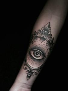 手腕上的眼球纹身图案很特别