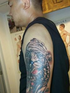 花臂個性傳統貔貅紋身圖案