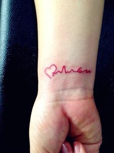 手腕心电图纹身刺青显个性