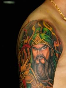 超级霸气的花臂关公纹身图案